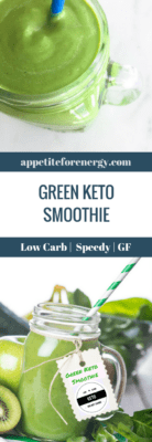 Green Keto Smoothie in a glass mason jar with fresh greens