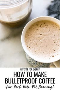 Creamy Bulletproof Coffee in a mug and the blender cup with extra coffee