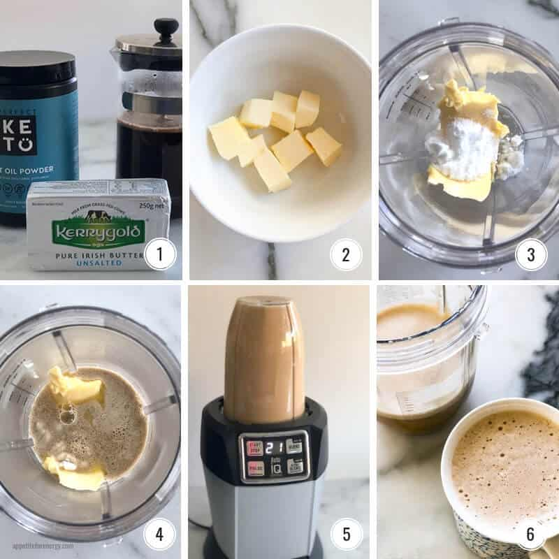 Step by step images for how to make Bulletproof Coffee
