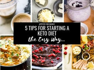 Collage showing examples of 6 different keto diet meals