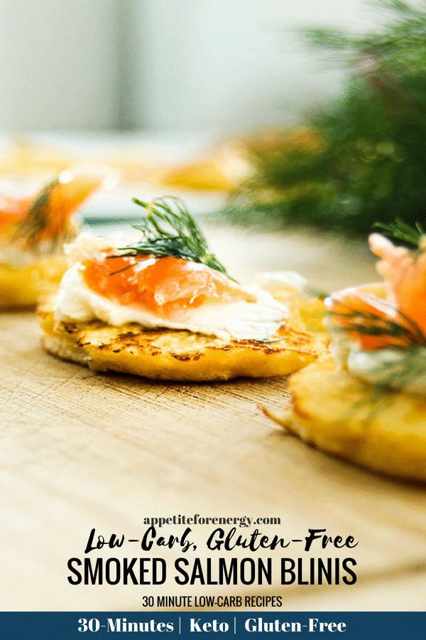 Looking for an easy low-carb recipe for holiday parties? These one-bite Low-Carb Smoked Salmon Blinis are the perfect hors d'oeuvres to share. #Keto #LowCarbRecipes #KetoRecipes #LowCarbDiet #LowCarbHolidayRecipes #blinis