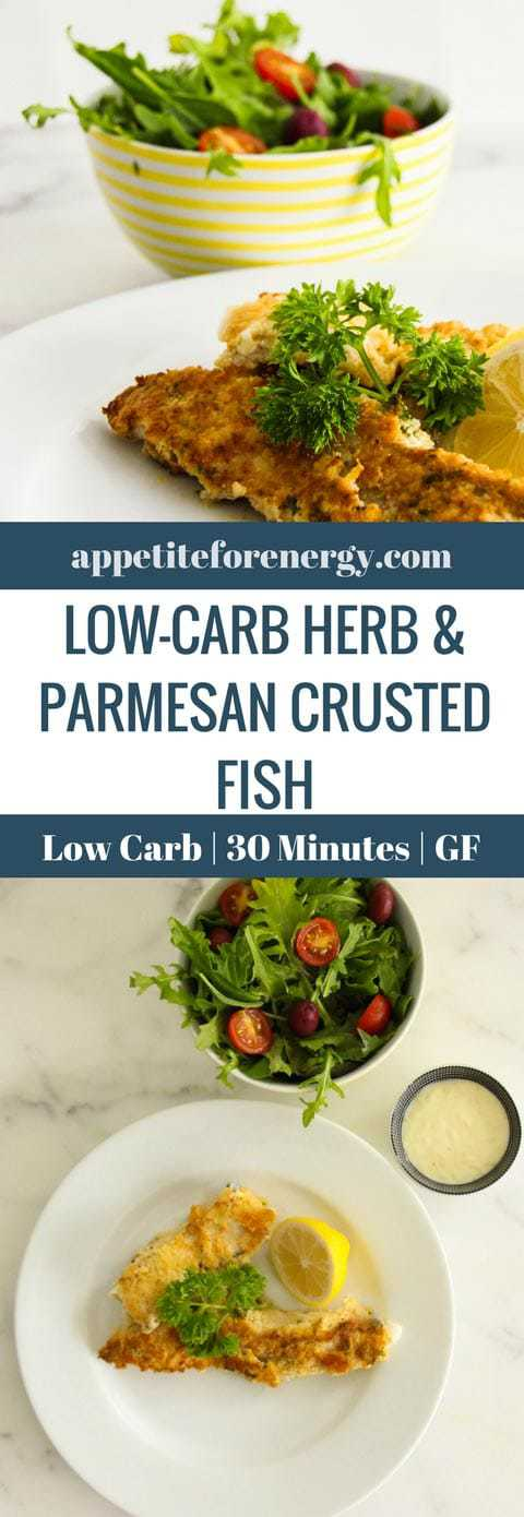 Low-Carb Herb And Parmesan Crusted Fish With Lime Aioli - ready to eat in 30 minutes and kid approved! It's the perfect low-carb, high-fat (LCHF) recipe for ketogenic (keto) and gluten-free diets. #keto #ketocrumbedfish #lowcarbseafood