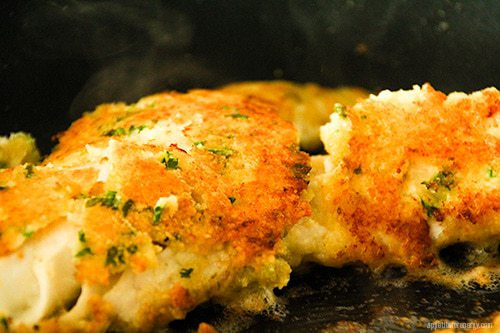 Crumbed Fish cooking in pan