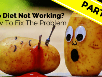 2 potatoes, one has been stabbed with a fork and knife and is bleeding ketchup. The other potato looks on in shock