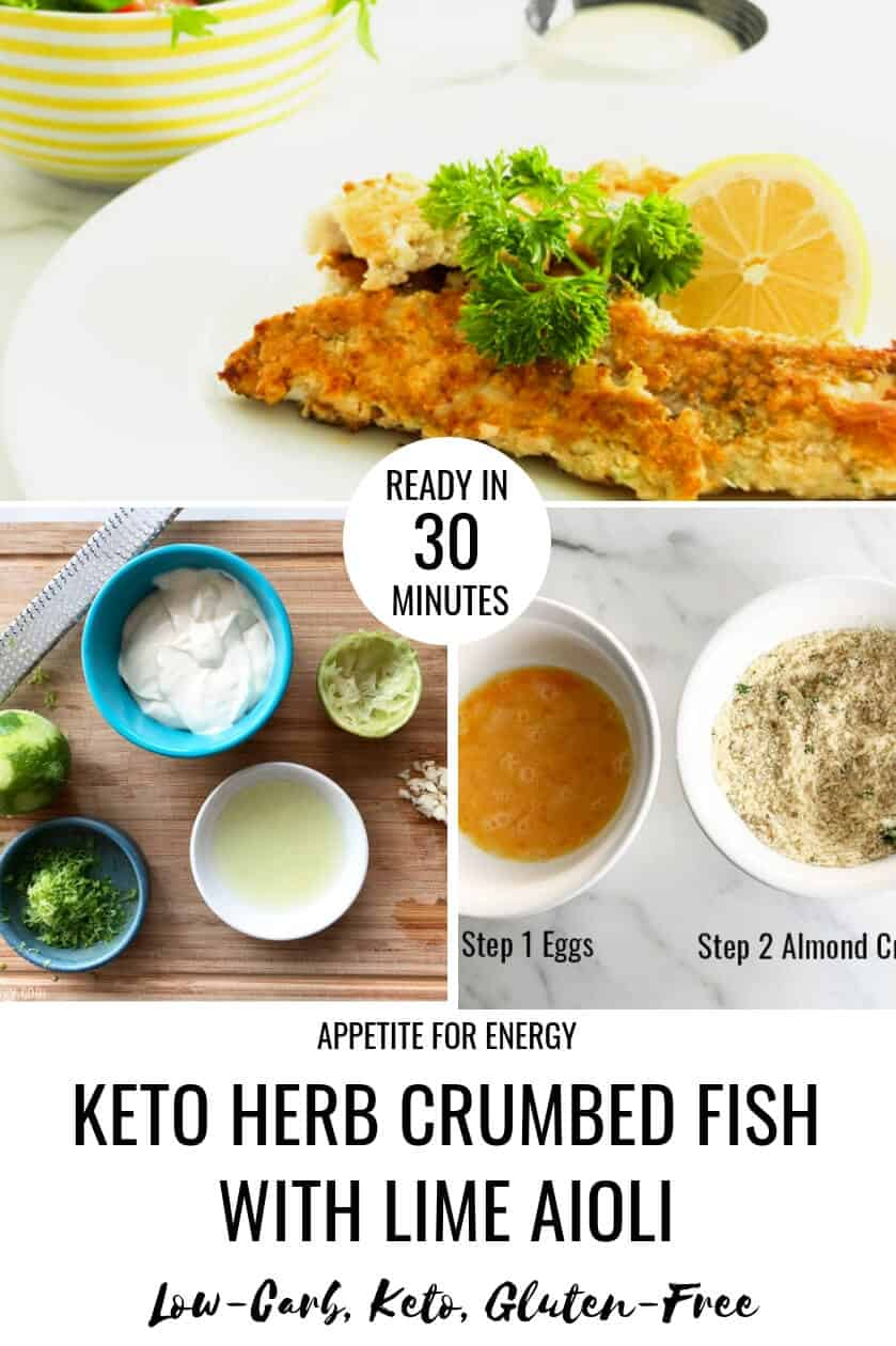 A crispy, crumbed fish with a creamy garlic lime aioli that is quick to make, kid-approved and ready in 30 minutes. Get a beautiful, crispy coating on your fish every time with this simple healthy recipe. Cook this parmesan crusted fish using fish fillets and almond meal for an easy weeknight, family friendly dinner. Ideal for keto (ketogenic) and gluten-free diets. # keto #glutenfree #ketorecipes #crumbedfish