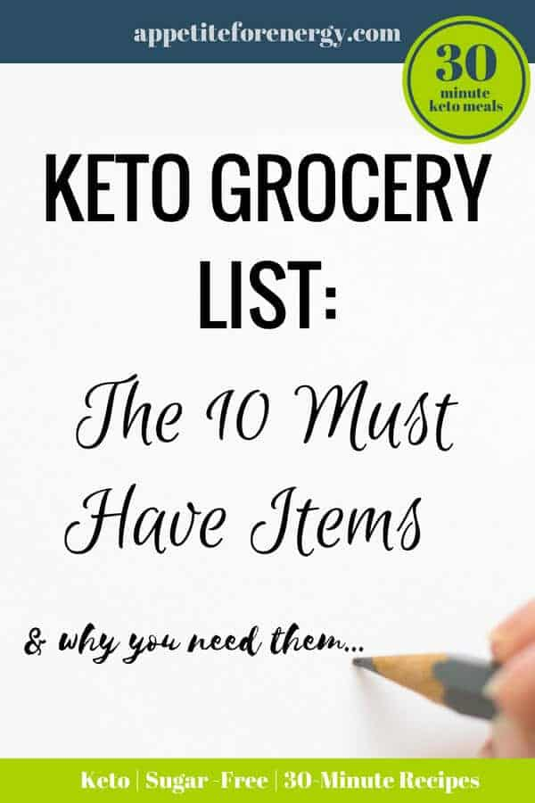 What are the 10 most common items found on the grocery lists of people who follow a low-carb and ketogenic diet? This keto food list explains how to use these basic items and where to buy them. Great tips for beginners. #ketofoodlist #keto #lowcarbfoods