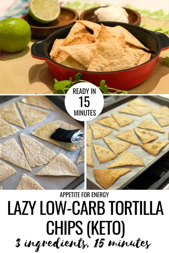Lazy Low-Carb Torilla Chips in a red bowl and images showing how to make them
