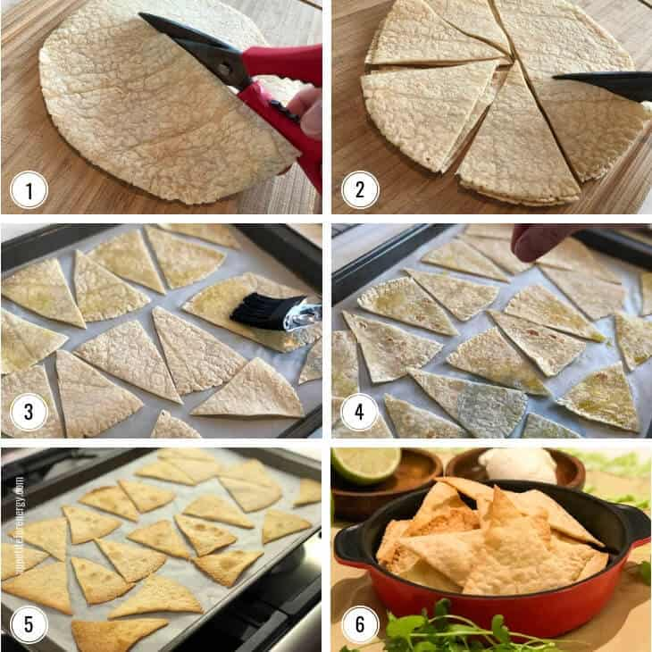 Images showing the steps to making Lazy Low-Carb Tortilla Chips (Keto)