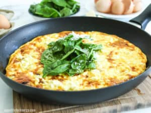 Low-Carb Bacon and Leek Frittata in a skillet with fresh spinach and grated parmesan on top. Bowl of spinach and eggs behind.