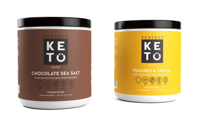 Perfect Keto Base Chocolate Sea Salt Flavor and Peaches and cream flavor