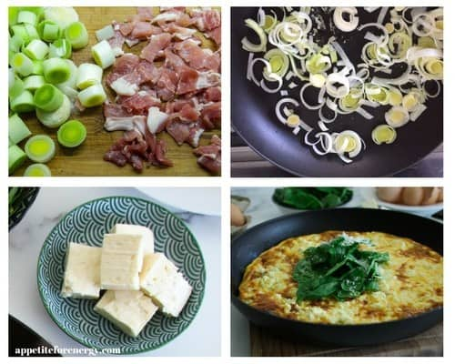 Process of Cooking 30 Minute Low-Carb Bacon and Leek Frittata and ingredients