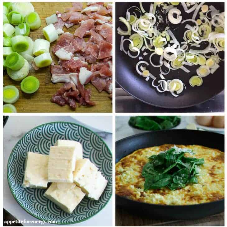 Collage showing making the frittata - sliced leek and bacon, cooking the leek, feta chopped, the finished dish