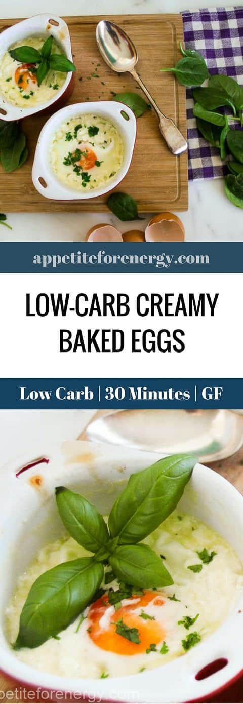 30 Minute Low-Carb Creamy Baked Eggs, with only 5 ingredients makes a great breakfast or lunch. You'll love the combination of eggs, cream and cheese in this simple keto recipe. Ideal for ketogenic and gluten-free diets. PIN & CLICK through to get the recipe! #bakedeggs #lowcarbrecipes #ketobreakfast