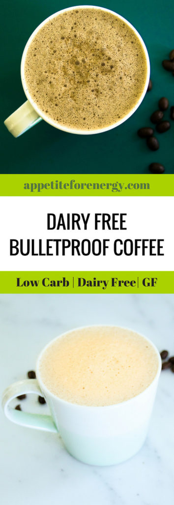Cup of dairy free bulletproof coffee and some coffee beans
