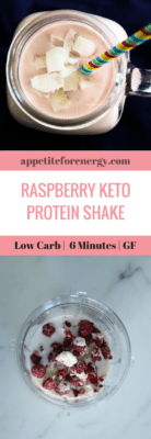 Raspberry Keto Protein Shake and ingredients before blending