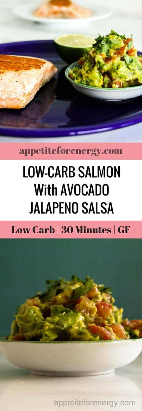 This dish combines Mexican flavors with the richness of salmon and finishes with a spicy kick from the jalapenos.  It's bursting with flavor and low-carb, high fat goodness and the whole meal is ready in just over 20 minutes. With 4g of net carbs per serve. | keto diet recipes| low carb 30 minute recipes | guacamole recipe | ketogenic diet easy dinner| gluten free recipes |dairy- free recipes #lowcarbrecipes #ketofishrecipe #guacamole #ketogenicdinner #lowcarbfishrecipe