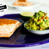 Low-Carb Salmon With Avocado Jalepeno Salsa on a blue plate