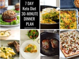 Collage showing the 7 different keto diiners for each day of the week