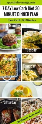 Collage of the 7 different low carb dishes