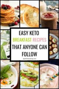 Collage of different low carb breakfasts such as pancakes and chia pudding