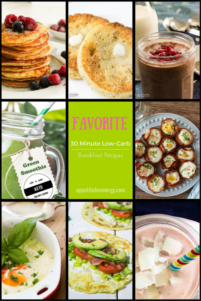 Images of 9 different low carb breakfast recipes