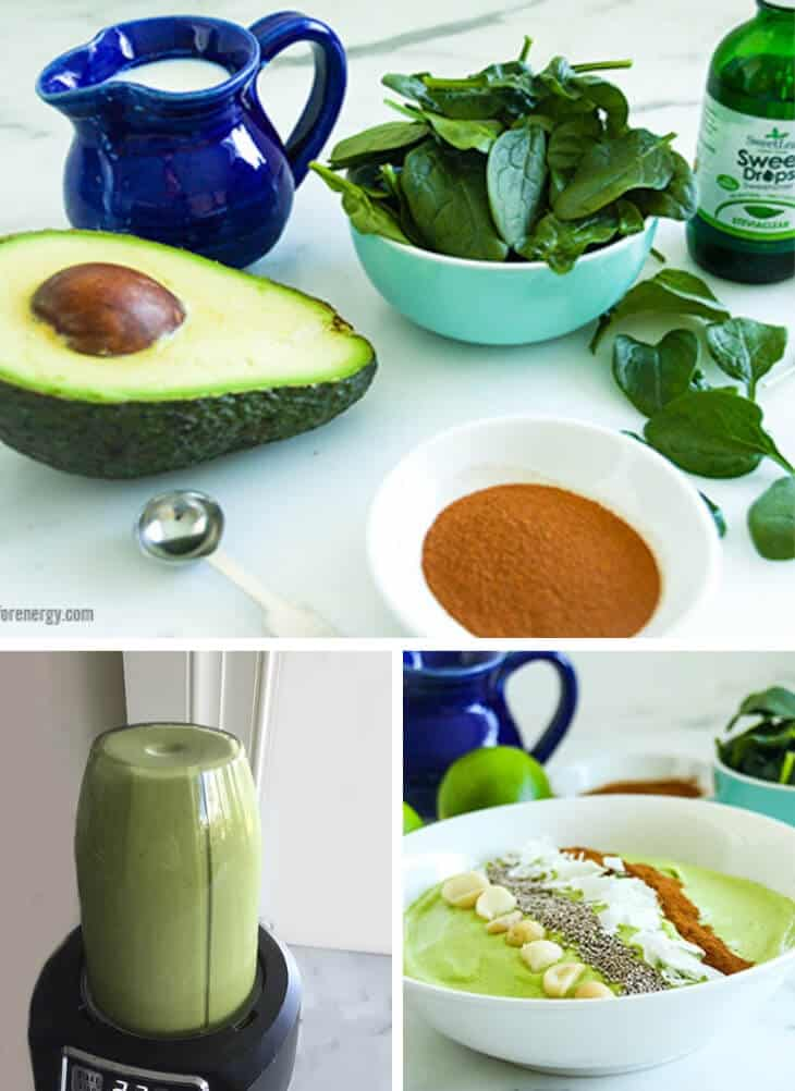 Collage showing ingredients for smoothie, blending the smoothie and the final bowl