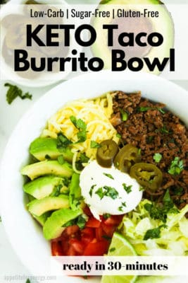 Low Carb Taco Burrito Bowl with avocado, tomato, cheese and chipotle
