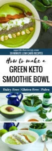 Green smoothie bowl and the ingredients