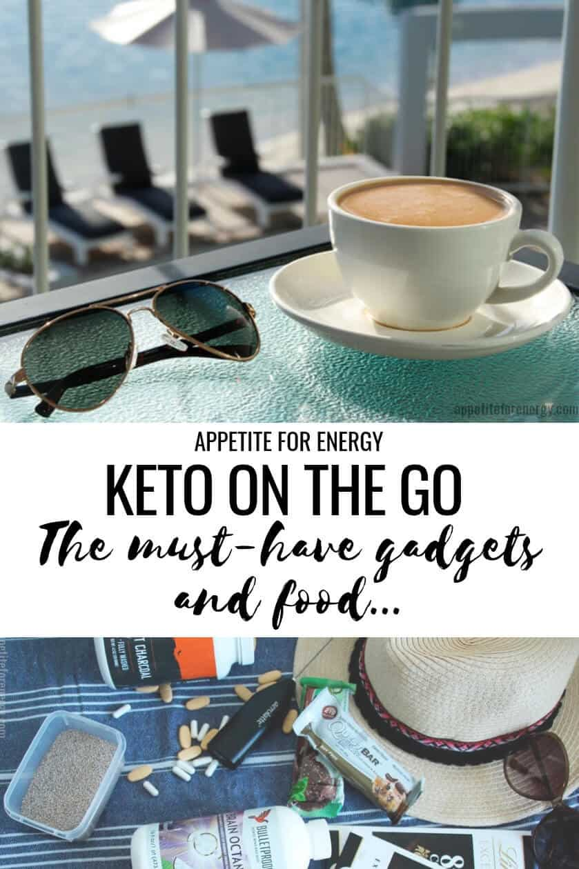 Stay on track when traveling with clever gadgets as well as keto food for on the go. In this post for the low-carb traveler, you'll find everything from tips to making bulletproof coffee while traveling, healthy ketogenic snacks, supplements and more to keep you feeling your best. #keto #ketodiet #ketodiettips