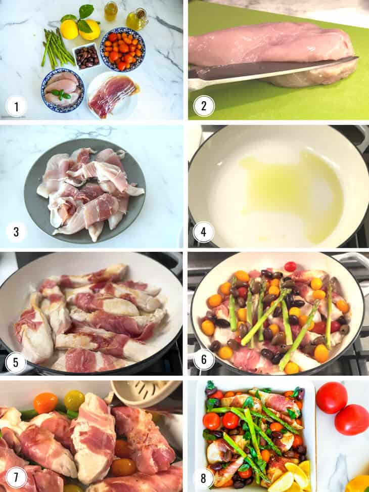 Images showing step by step process for making Proscuitto wrapped chicken