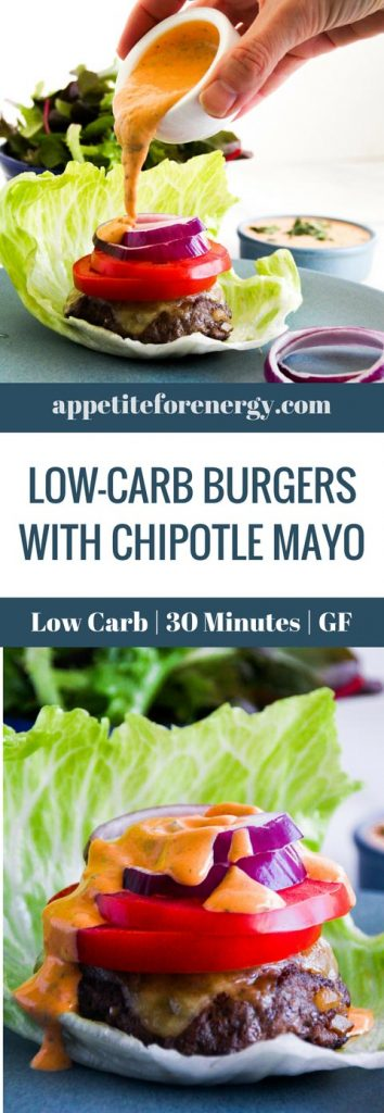 Pouring Chipotle Mayo onto a Low-Carb Burgers