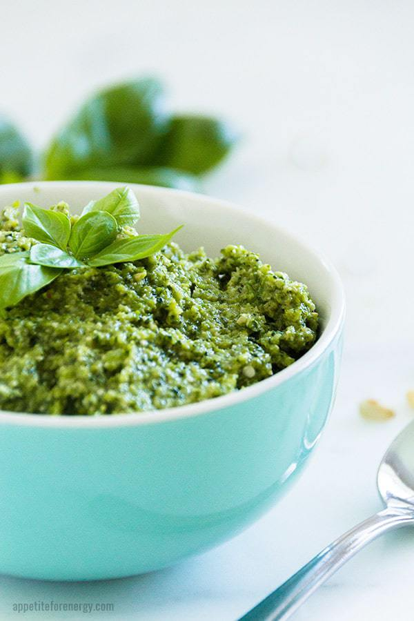 Low-Carb Broccoli Pesto Sauce in a bowl