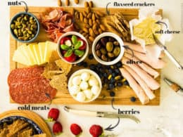 Low-Carb Antipasto Platter with cheese, olives, deli meats, nuts, berries