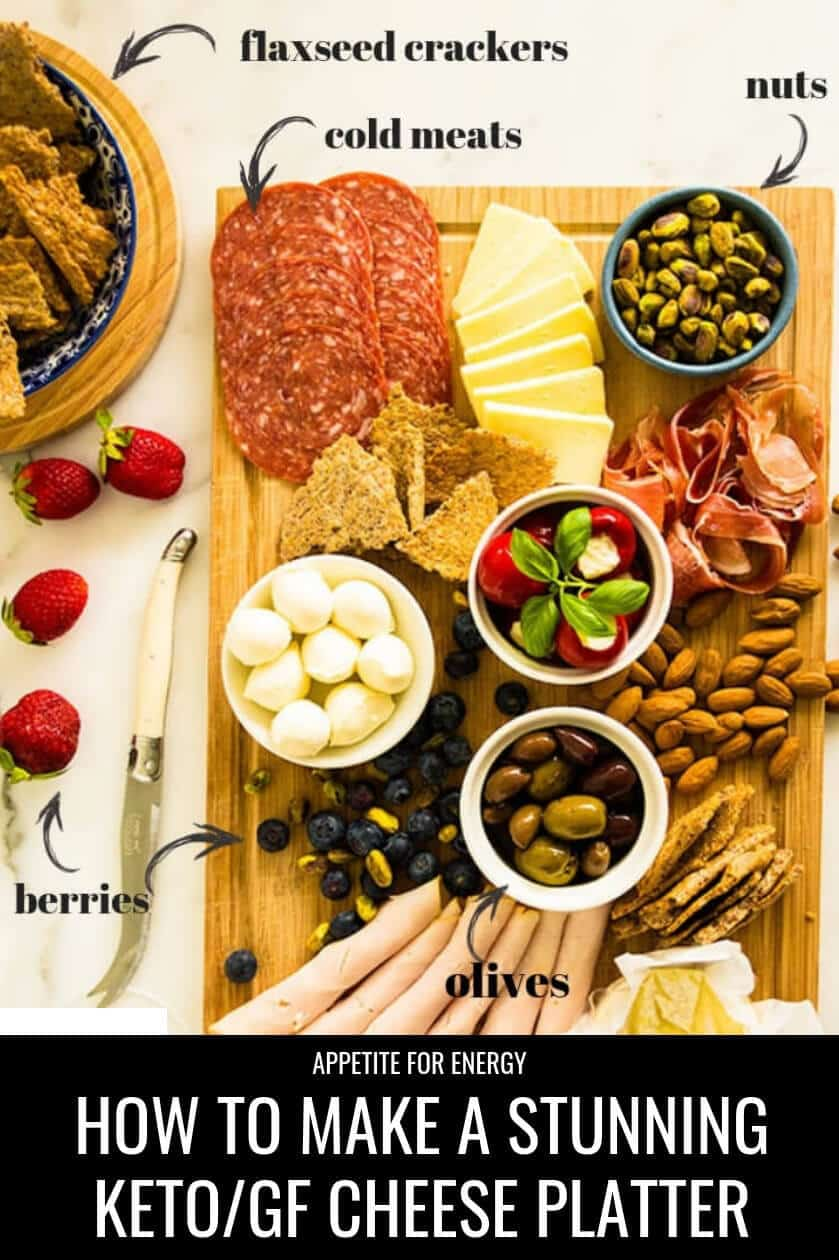 How to make a rustic cheese platter, bursting with keto-friendly, gluten-free nibbles. Follow our step-by-step guide for ideas & try these simple styling tips to create a stunning Ketogenic Charcuterie Antipasto Platter in 20 minutes! The ideal healthy keto party food. #cheeseplatter #cheeseboard #glutenfree #keto #ketoparty