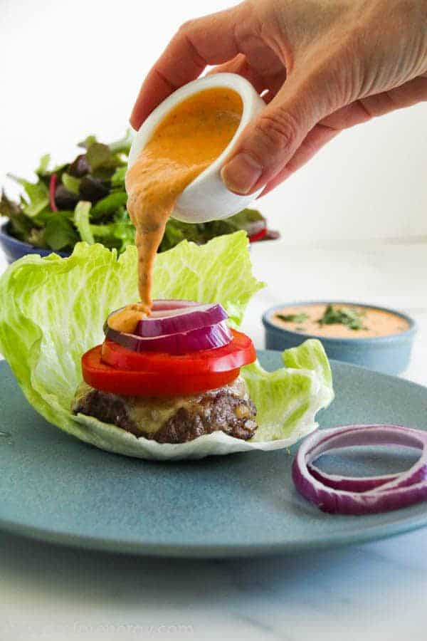 For the BEST bunless burger, look no further than our juicy, decadent, soul restoring Low-Carb Burger With Chipotle Mayo. 30 minutes & 9g of net carbs. Low-Carb burger recipe| bunless burgers| gluten-free burger|Atkins|keto hamburger|ketogenic diet| how to make a bunless burger |chipotle mayo for burgers #ketorecipes #lowcarbdiet #ketogenic #bunlessburger #glutenfree #ketomeals #ketofam #atkins #chipotlemayo