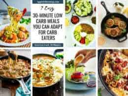 Images of the 7 low-carb recipes in a grid