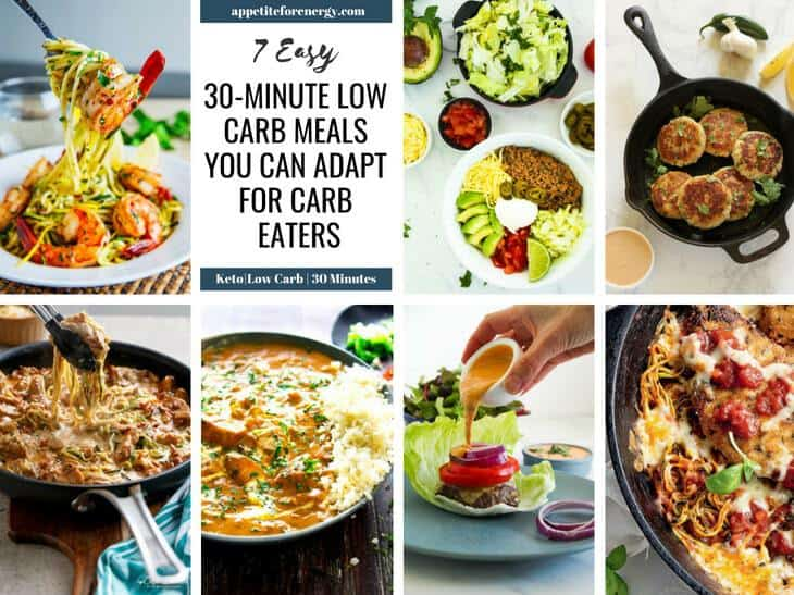 Images of the 7 low-carb keto meal plan recipes in a grid