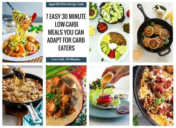 Collage of the 7 low-carb dishes