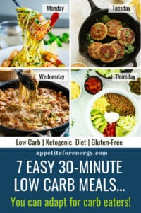 Collage showing 4 of the recipes that can easily adapted for carb eaters in your family