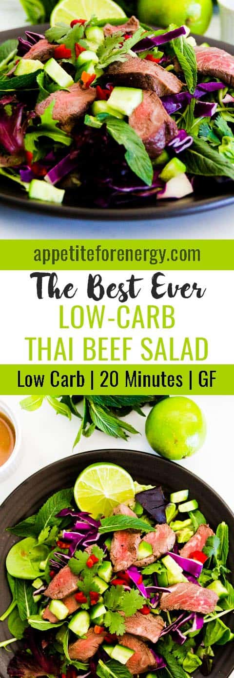 This is the best ever recipe for Low-Carb Thai Beef Salad that I have tried. It's low-carb, it's fresh and light and will be ready in 20 minutes. FOLLOW us for more 30 Minute Recipes. PIN & CLICK through to get the recipe! |Low-carb diet | ketogenic diet | keto |keto beef recipes| low carb diet thai beef salad |gluten free recipes|Low carb salad recipe| #keto #lowcarbrecipes #ketorecipes #lowcarbdiet #thaibeefsalad