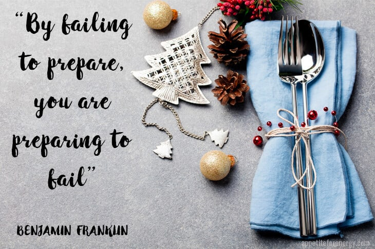 "Holiday table setting with Benjamin Franklin Quote ""Failing to prepare is preparing to fail"""