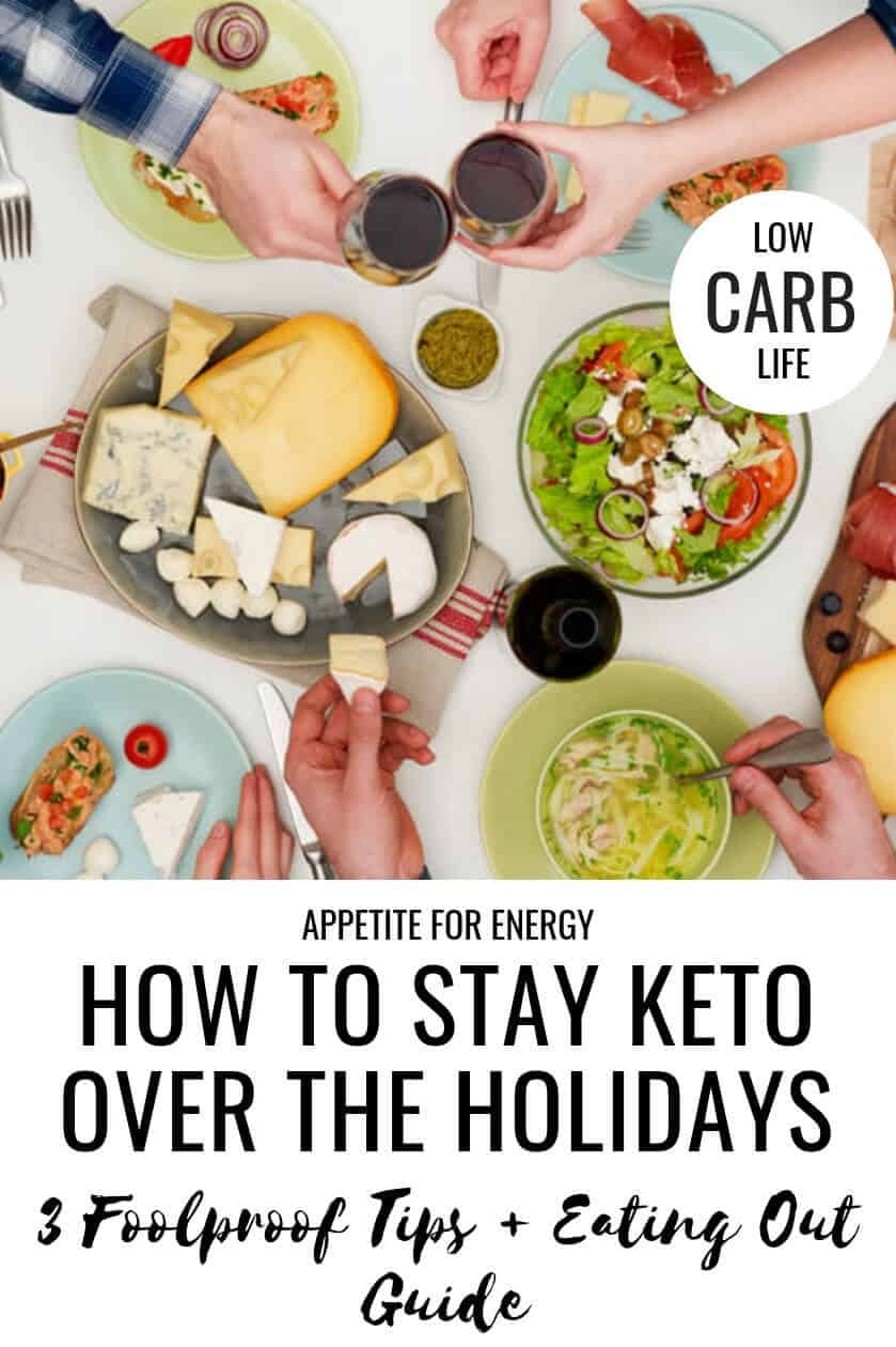 Wondering how to stay keto over the holidays this year and whether it's okay to indulge a little? You are not the only one! Check out these fantastic tips and ideas on how to enjoy the festive season AND stay on track with your healthy low-carb or ketogenic diet. You'll also find simple ideas for eating out at restaurants. #keto #ketodiet #lowcarb