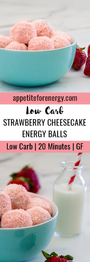 Low-Carb Strawberry Cheesecake Energy Balls in a bowl with strawberries and a glass of milk