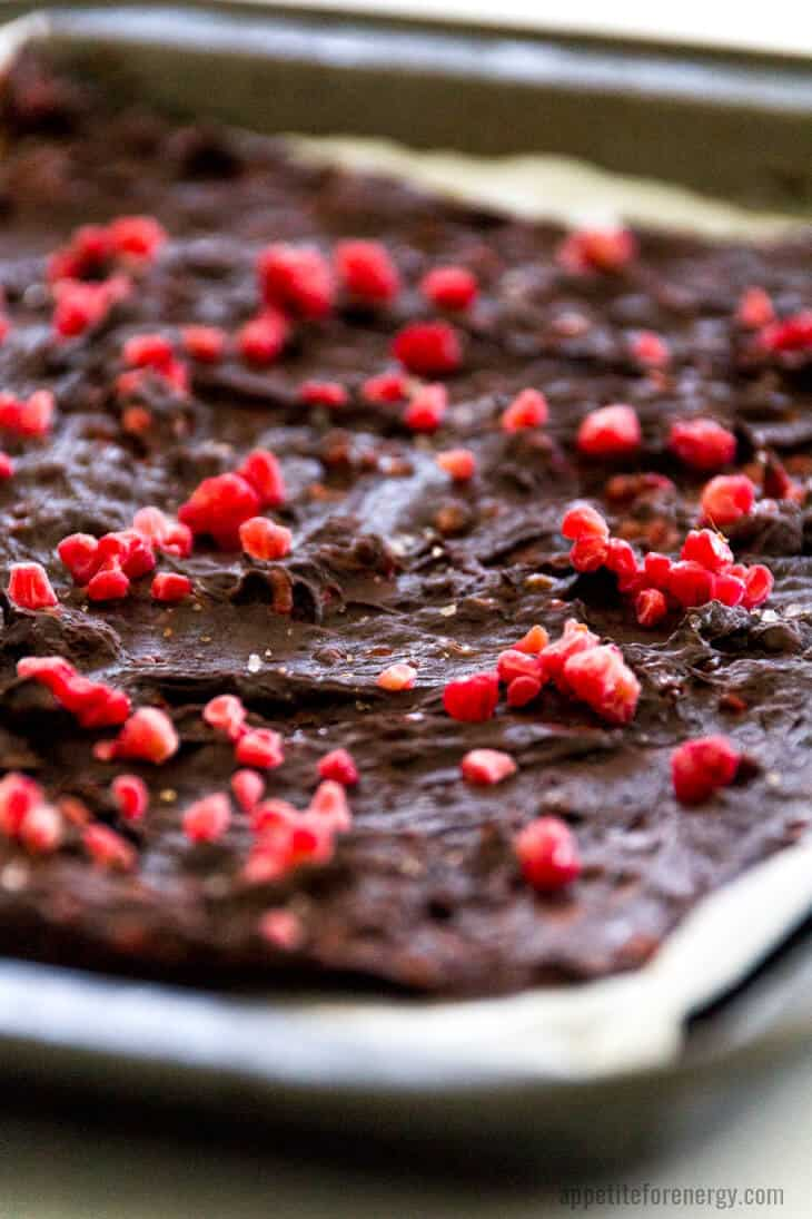Low-Carb Salted Raspberry Chocolate Bark on the tray used to freeze it before breaking up