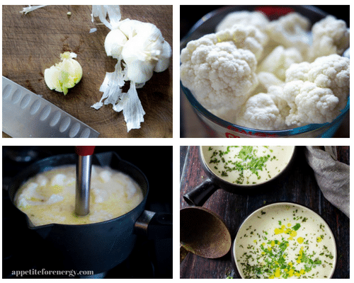 Four images showing the process of making the soup. Chopping the garlic, cauliflower florets in a bowl, blending the soup with an immersion blender and the finished soup in 2 bowls on a table.