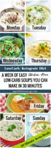 Collage showing a different soup for every day of the week