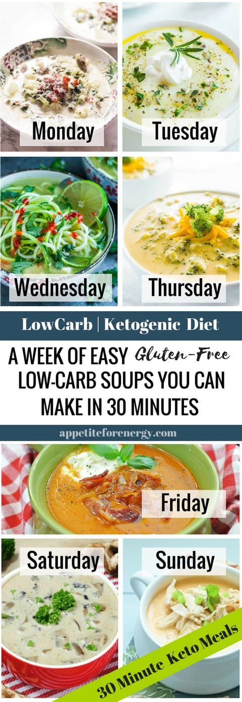 Forget soups that need to be simmered for hours on end. Get the recipes for a week of hearty, low-carb soups that you can make in 30 minutes or less. FOLLOW us for more 30 Minute Recipes. PIN & CLICK through to get the recipes! |Low-carb diet soup |ketogenic diet soup |keto diet recipes |keto soup| gluten free soup recipes|Low carb dinner recipe| easysouprecipes #Ketosoup #LowCarbSoupRecipes #KetogenicSoupRecipes #BuffaloChickenSoup