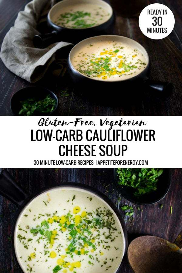 This delicious low-carb cauliflower cheese soup uses only 5 ingredients and will be on your table in 30 minutes. Perfect for busy weeknights with 10g of net carbs. Perfect for ketogenic (keto), gluten-free and vegetarian diets. #Keto #cauliflowerSoup #cauliflowercheesesoup
