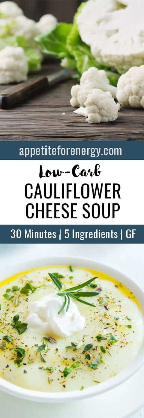 This delicious low-carb cauliflower cheese soup uses only 5 ingredients and will be on your table in 30 minutes. Perfect for busy weeknights with 10g of net carbs. FOLLOW us for more 30 Minute Recipes. PIN & CLICK through to get the recipe! cauliflower soup  |Low-carb diet soup |ketogenic diet |keto diet recipes |keto soup| gluten free soup recipe|Low carb dinner recipe| 5 ingredient soup #Ketosoup #LowCarbSoupRecipes #KetogenicSoupRecipes #CauliflowerSoup