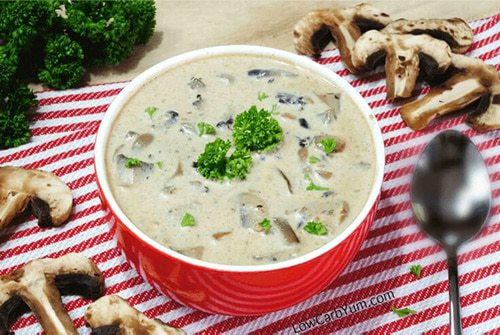 Low-Carb Cream of Mushroom Soup in a bowl with herbs